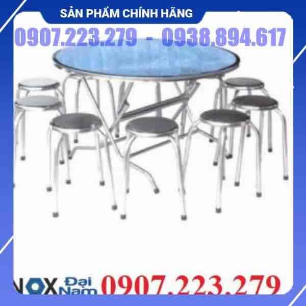 Bàn ghế inox bàn tròn 10 ghế Đại Nam DN009