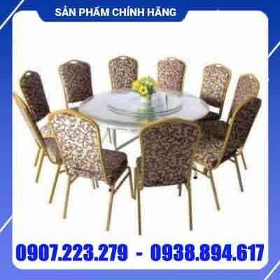 Bàn ghế inox nhà hàng cao cấp - DN010
