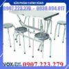 Bộ bàn ghế inox bàn vuông 6 ghế Đại nam DN003